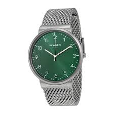 mesh bracelet watches images Skagen ancher green dial stainless steel mesh bracelet men 39 s watch jpg