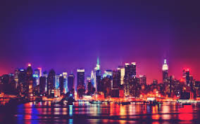 new york city colorful night skyline free wallpaper hd