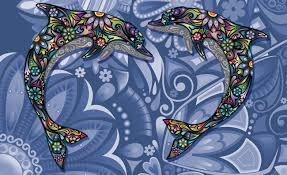 dolphins flowers abstract colours wall paper mural buy at dolphins flowers abstract colours wallpaper mural