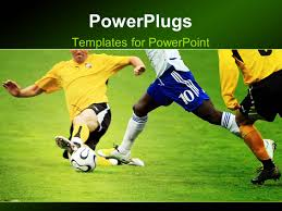 powerpoint template soccer footwear and ball over a grey gradient