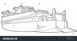 coloring page boat illustration children stock illustration