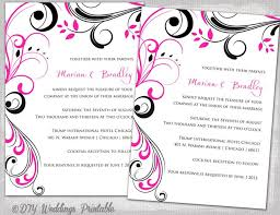 wedding invitation templates black and pink