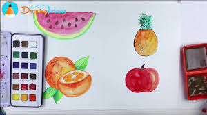 how to draw watercolor fruits coloring pages for kids by