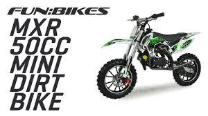 motocross bike makes funbikes mxr 50cc 61cm green mini dirt bike youtube