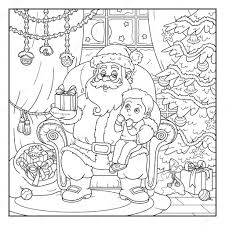 Livre de coloriage pour les enfants  le père Noël donne un cadeau