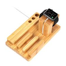apple watch wood charging station organizer and ipad stand