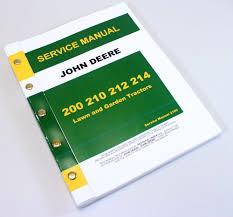 john deere 200 210 212 214 lawn tractor service repair technical