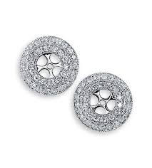 earring jackets for studs 14k white gold circle 1ct diamond stud earring jackets stud