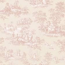 Rideaux Toile De Jouy Papier Peint Giulia Vinyle Sur Intissé Toile De Jouy Rose Fond
