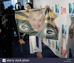 Green Bay Packers Flags Chord Overstreet Holds A Flag With Ellen Degeneres And The Green