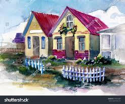 two fairytale cute houses border garden stock illustration