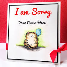 write name on i am sorry greeting card