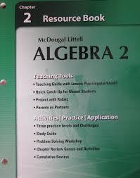 mcdougal littell algebra 2 chapter 2 resource book paperback 2007