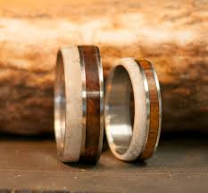 matching wedding bands the raptor matching set of antler wood wedding bands