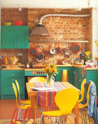 fun bright and retro kitchen love the pop of colours with the