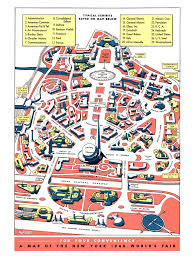 New York Map Of Attractions by Map Of New York 1949 World U0027s Fair At Flushing Meadows Corona Park