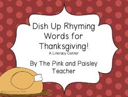 dishing up rhyming words for thanksgiving by the pink and paisley