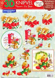 popcorn bear christmas 18 3d decoupage sheet card making paper