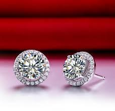 diamond earrings on sale 0 5ct halo moissanite diamond earrings stud push back