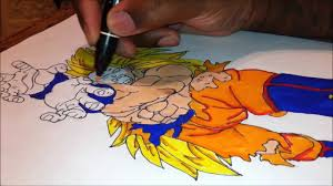 coloring in super saiyan 3 goku from dragon ball z with ced tatau