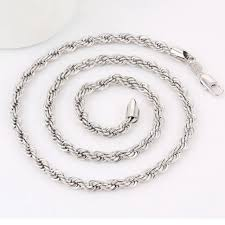 aliexpress buy anniversary 18k white gold filled 4 4mm classic rope necklace for women men white gold filled rope
