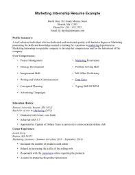 marketing student resume college internship resume sample resume