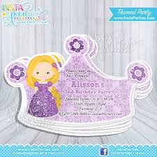 Minions Invitation Card Rapunzel Princess Invitations Crown Princess Cut Out Birthday