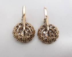 diamond cluster earrings era 18kt yellow gold cut diamond cluster earrings