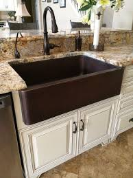 Hammered Copper Apron Front Sink by Hammered Copper Farm Sink Moen Oil Rubbed Bronze Touch Less