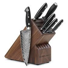 kramer by zwilling stainless damascus knife block set 7 piece