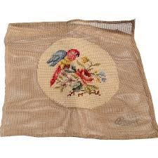 vintage needlepoint canvas parrot and from bestkeptsecrets on