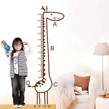 giraffe wall stickers kids children room growth chart height decal giraffe wall stickers kids children room growth chart height decal measure removable home decoration