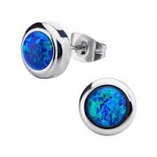 blue opal earrings of women u0027s stainless steel bezel set black synthetic opal stud