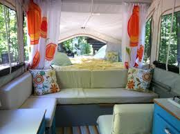 pop up camper remodel i love the colors here lt blue poppy u0026 a