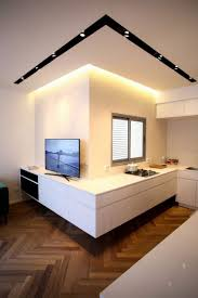 corniche cuisine cuisine sans poignée avec corniche lumineuse et faux plafond design