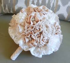 Shabby Chic Wedding Accessories by Fabric Flower Bouquet Vintage Wedding Shabby Chic Champagne