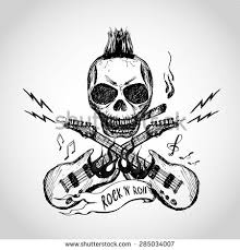rock and roll skull stock images royalty free images vectors