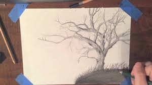 drawing a realistic tree timelapse