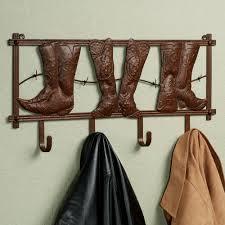 kickin country cowboy boot metal wall hook rack