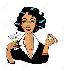 martini vintage woman drinking martini or cocktail retro vintage clipart royalty