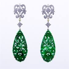diamonds earrings carved jade and diamonds earrings with 14k and silver