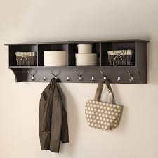 Bathroom Shelf With Hooks Shop Prepac Furniture Espresso 9 Hook Mounted Coat Rack At Lowes Com