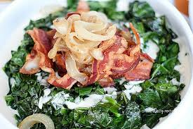 collard greens with caramelized onions bacon this