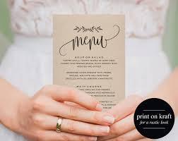 Wedding Invitations With Menu Cards Printable Wedding Menu Wedding Menu Template Menu Cards
