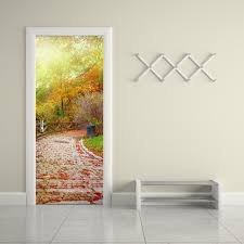 online get cheap sticker wall leaves aliexpress com alibaba group funlife fall leaves and stone road pvc door sticker diy imitation 3d wall decals living room