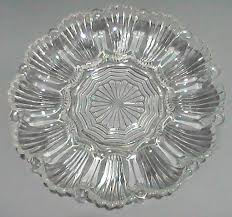 glass egg plate deviled egg relish platter 10 inch vintage anchor hocking