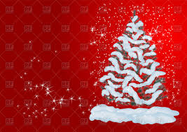 christmas tree with snow snow covered christmas tree background vector clipart image