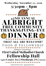 albright church hosts free thanksgiving dinner 11 23 16