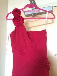 davids bridal apple red one shoulder bridesmaid dress size 1