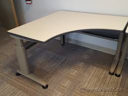 Height Adjustable Corner Desk by Knoll Morrison Modern 46 X 46 Height Adjustable Corner Desk